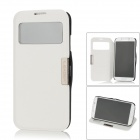 360 Degree Rotatable PU Leather Case w/ Transparent Window for Samsung Galaxy S4 / i9500 - White