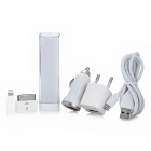 AC / Car Charger Adapters + Portable 1600mAh Power Bank Kit w/ Adapters for iPhone / iPad - White