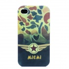 Unique Military Uniform Pattern Plastic Full Body Case for Iphone 4 / 4S - Camouflage Green