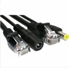 POE RJ45 Female to Male Plug / DC Male Adapter Cable - Black (2PCS)