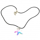 Crystal Starfish Pendant Necklace - Black + White