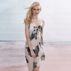 Fashionable Women's Polyester Chiffon Beach Cover Up Dress - Black + White (Size-L)