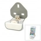 N052-1 Compact Apple 30pin & USB 2.0 iDock Charging Staion w/ Power Adapter Buckle - Gray + White