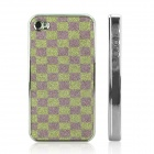 ENKAY Shimmering Powder Pattern Protective Plastic Back Case Cover for Iphone 4 / 4S - Green+Purple