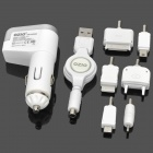 OZIO Car Power Charger w/ 6 Charging Adapters - White (DC 12-24V)