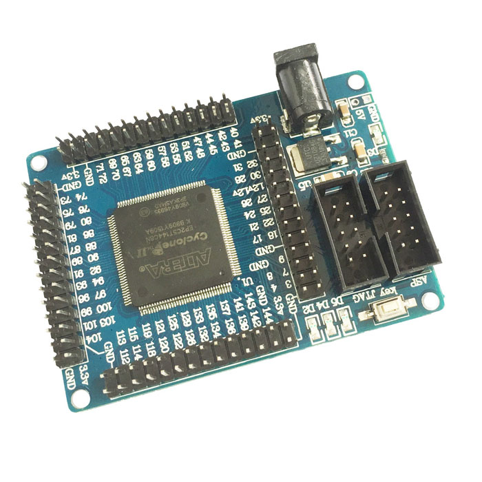 ALTERA FPGA CycloneII EP2C5T144 Minimum System Learning Development Board Module - BlueBoards &amp; Shields<br>BrandN/A ModelEP2C5T144 Quantity1 ColorBlue MaterialPCB + plastic + iron FeaturesAdopts the ALTERA company CycloneII EP2C5T144 chip as the core minimum system, the FPGA is easily embedded into the practical application of the system; Complete from simple logic control, data acquisition, signal processing and mathematical calculation function; Core board FPGA chip pin all the leads can be directly plugged into the board on the application board, 5V power supply on the board can be introduced by the socket and also by the introduction of front row; Very compact dimensions: 71.9 (mm) x 51.7 (mm)  SpecificationHardware configuration: Board EP2C5T144 chip;  The configuration EPROM chip EPCS4, size is 4Mbit; Onboard 50M active patch crystal (crystal in the back of the board); Power supply with a big mouth power outlet, single 5V power supply; Panel power indicator and reset switch; Board 3 SMD LED, LED testing laboratories, more experiments using lead; All IO ports and clock pin through the pin leads via these interfaces can be extended memory and peripheral; Board with high-quality tantalum capacitors for power supply filtering; Supports NiosII embedded CPU development ApplicationVarious electronic products or DIY project  English Manual/SpecYes  Packing List1 x Minimum system learning board moduleManual:http://m5.img.dxcdn.com/CDDriver/CD/sku.216816.rar<br>