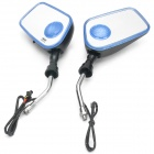 Motorcycle Rearview Mirror MP3 Player Speaker w/ Blue Lamp / FM  / SD - Black + Blue (Pair)
