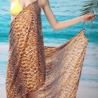Snake Print Women's Sexy V-Neck Backless Front Cross Beach Chiffon Cover-up Dress - Brown (Size L)
