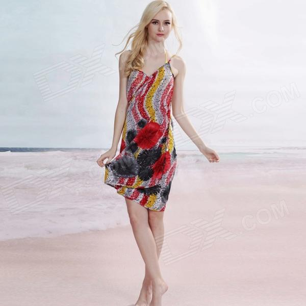 Chrysanthemum Print Women's Sexy Backless Front Cross Beach Chiffon Cover-up Dress - Multicolored