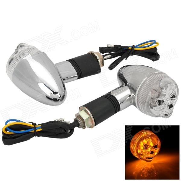 Skull Style 120lm 12 Yellow Light Emisores motocicleta DIY Steering Lamp - Plata + Negro (2 PCS)