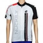 NUCKILY NJ503 Short Sleeves Quick-dry Bicycle Cycling Riding Jersey  - Black + White (Size XL)