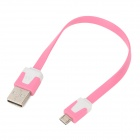 USB Male to Micro USB Male Flat Charging Cable - Pink + White (20cm)