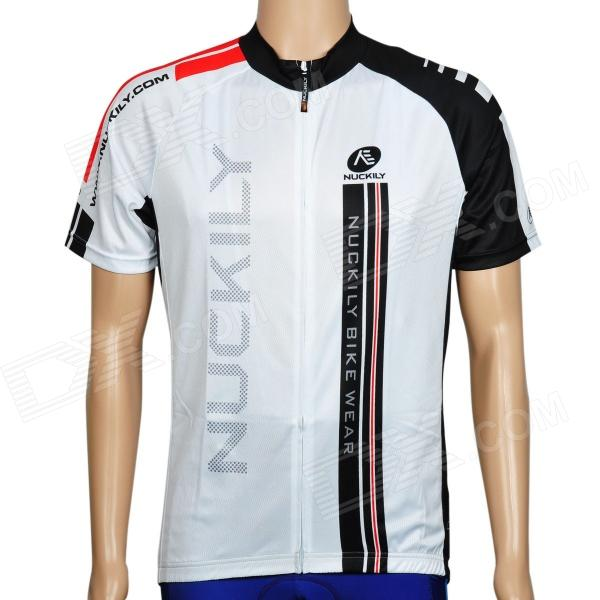 NUCKILY NJ503 Short Sleeves Quick-dry Bicycle Cycling Riding Jersey  - Black + White (Size XXL) nuckily nj601 mountain road bicycle cycling short sleeves jersey red black size m