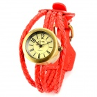 Manual Braided PU Leather Band Retro Quartz Bracelet Watch - Red + Antique Brass (1 x 377)
