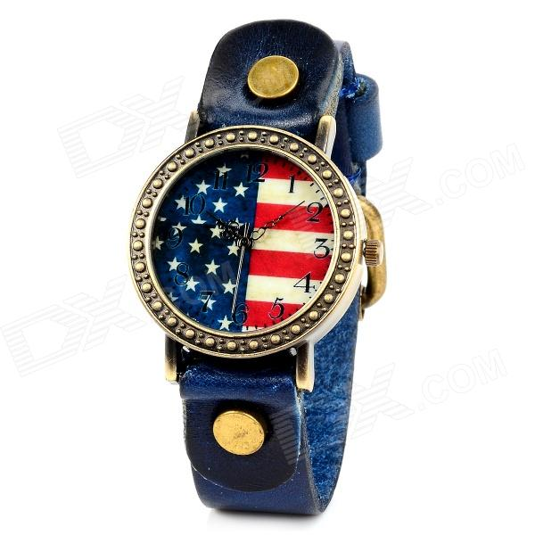 Retro The American National Flag Style Cow Split Leather Band Quartz Wrist Watch - Blue (1 x 377)