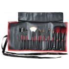 Professional Cosmetic Wooden Makeup Brushes Set w/ PU Leather Carrying Pouch - Red (12 PCS)
