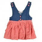 Spring Summer Cute Girl's Vest Cake Skirt - Red + Blue