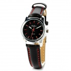 Onlyou 8792 Simple PU Leather Band Lady's Quartz Wrist Watch - Black + Silver (1 x 626)