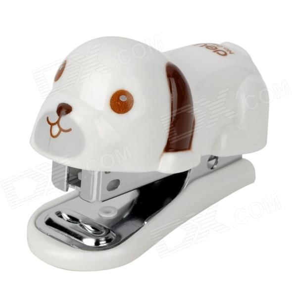 DELI 0455 Cute Dog Style Stapler Set - White + Brown 2017 one piece deli 0394 heavy duty stapler 80 sheets