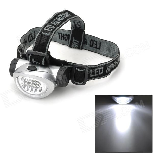 698 Outdoor Hiking 28lm 4-Mode 8 LED White Light Head Light - Silver + Black (3 x AAA)
