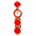 Fashion Zinc Alloy Lady Quarz-Armband-Uhr - Rot + Golden (2 x SR920)