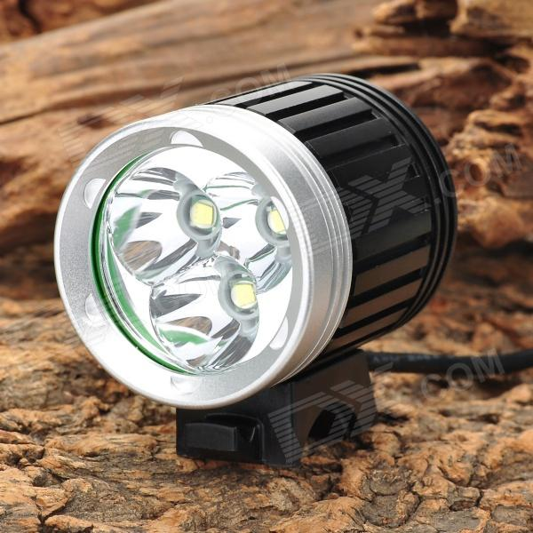 FANDYFIRE YM-03 4-Mode 1200lm White Bicycle Light w/ 3 x CREE XM-L T6 - Black + Silver (4x18650) 600lm 3 mode white bicycle headlamp w cree xm l t6 black silver 4 x 18650