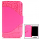 Crocodile Skin Style Protective PU Leather Case for Samsung Galaxy S4 i9500 - Deep Pink
