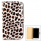 Leopard Print Patter  PU Leather + Plastic Flip-Open Case for Samsung i9500 - Pink + Black + Brown