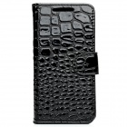 Alligator Pattern Protective PU Leather + Plastic Flip-Open Case for HTC One M7 - Black