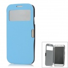 Protective Finger Print PU Leather + ABS Flip Open Case for Samsung S4 / i9500 - Black + Blue