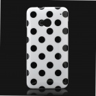 Protective Polka Dots Back Case for HTC One m7 - Black + White