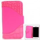 Protective Flip-Open PU Leather Case for Sony L36H - Pink + White