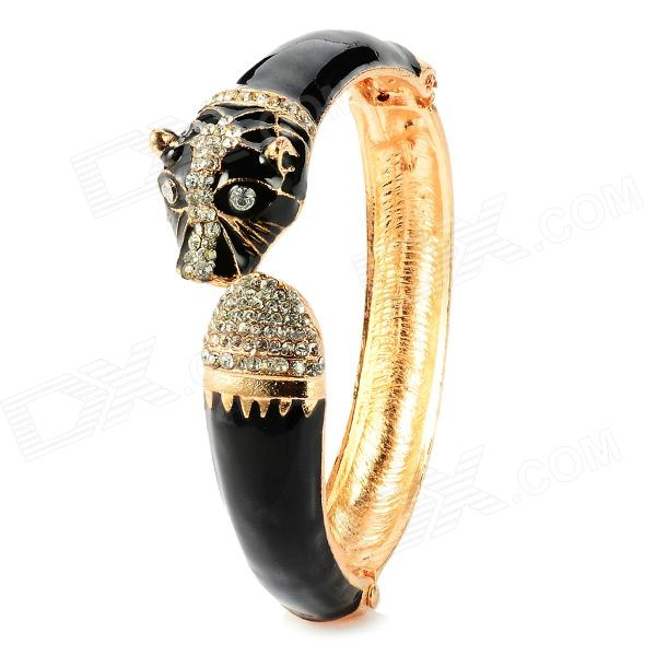 Fashion Leopard Head Alloy Bracelet - Black + Golden бумажник golden head портмоне 3331501