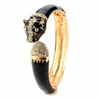 Fashion Leopard Head Alloy Bracelet - Black + Golden