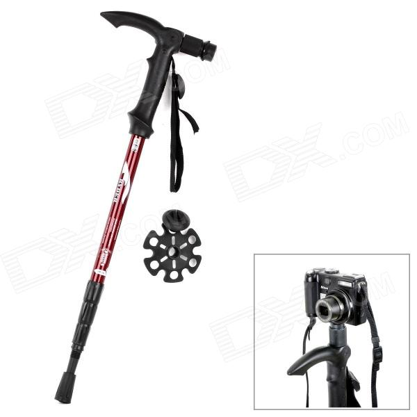 RYDER G0116 2-in-1 4-Section Camera Holder Frame Alpenstock - Black + Red