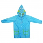 4092-1 Cartoon Style Children's Polyester Raincoat w/ Pockets - Blue