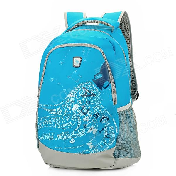 Oiwas OCB4101 Aquarius Design Water Resistant Casual Nylon Backpack School Bag - Blue (30L)