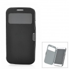 Protective Genuine Leather Flip-Open Case for Samsung Galaxy S4 / i9500 - Black