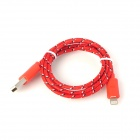 USB 2.0 auf 8-Pin Blitz Sync Data / Laden Nylon-Kabel für iPhone 5 / iPad 4 - Red