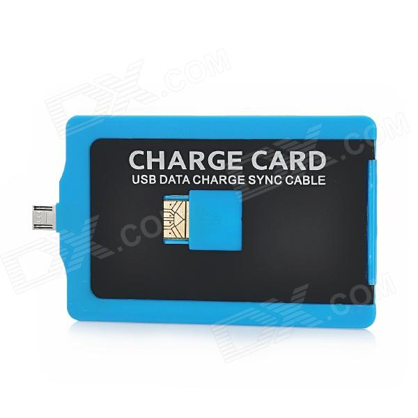 Name Card Shaped USB Male to Micro USB Male Charging + Data Cable - Blue + Black + White (65cm)