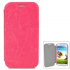 Protective Flip-Open Style PU Leather Case for Samsung i9500 w/ Card Slot - Deep Pink