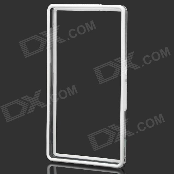Protective Bumper Frame for Sony Xperia Z L36h - White + Transparent original oem display for sony xperia z5 mini z5 compact black white lcd screen with touch digitizer assembly ship by dhl ems