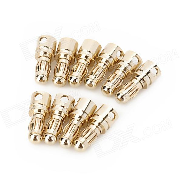 DIY 3.5mm Gold Plated Banana Plugs Connectors for Fixed Wing R/C Airplane - Yellow (10 PCS) 4pcs new 4mm plugs gold plated musical speaker cable wire pin banana plug connectors