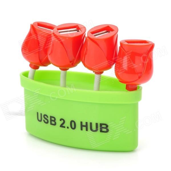 LH001 Roses Style USB 2.0 4-Port HUB - Green + Red