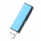 Multifunction Super Speed USB 3.0 Card Reader for SD / TF / MS / M2 - Blue + Black