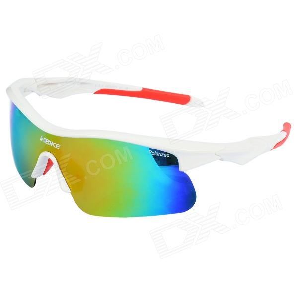 NBIKE 9356-1 Outdoor Cycling UV400 Protection PC Frame Resin Lens Polarized Sunglasses - White + Red