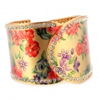 Fashion Rose Pattern Wide Bracelet w/ Crystal - Golden