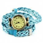 Fashion Women's PU Leather Weave Bracelet Quartz Watch - Light Blue + Bronze (1 x LR626)
