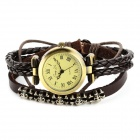 Jing Yi  JY-009 Fashion Punk Skull Style Wrap Bracelet Quartz Watch - Brown (1 x LR626)