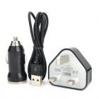 3-in-1 Car Charger + UK Power Charging Adapter + USB Cable for iPhone 5 / iPad 4 / iPad Mini - Black
